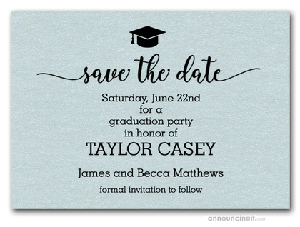 Grad Hat on Aqua Save the Date Cards