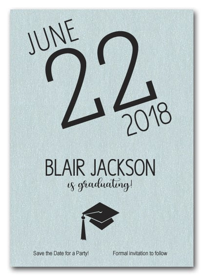 Shimmery Aqua Modern Graduation Save the Date Cards
