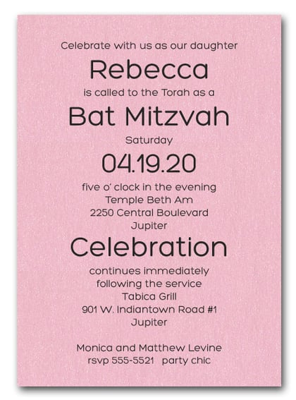 Shimmery Pink Bold Bar Mitzvah