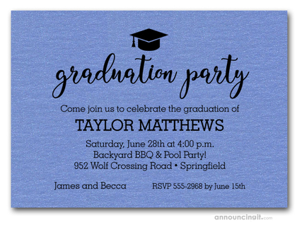 Hat on Shimmery Blue Graduation Party Invitations
