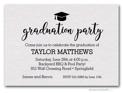 Hat on Shimmery White Graduation Party Invitations