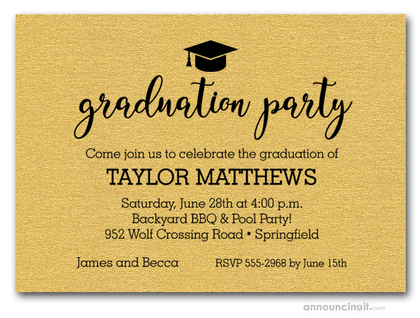Hat on Shimmery Gold Graduation Party Invitations