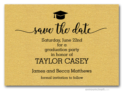 Grad Hat on Shimmery Gold Save the Date Cards