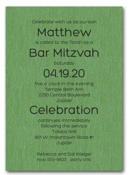 Shimmery Green Bold Bar Mitzvah