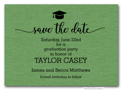 Grad Hat on Shimmery Green Save the Date Cards
