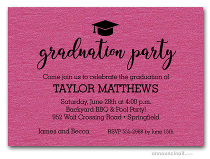 Hat on Shimmery Hot Pink Graduation Party Invitations