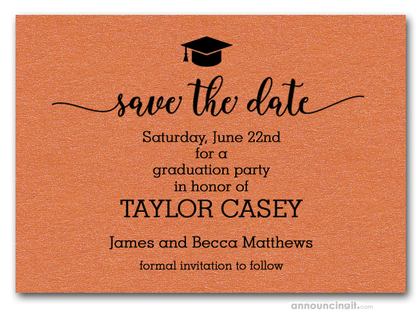 Grad Hat on Orange Save the Date Cards