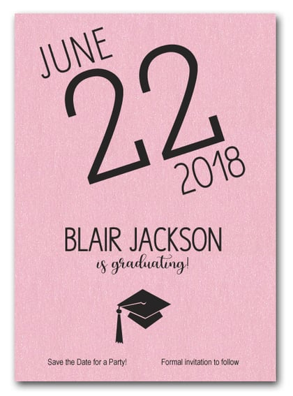 Shimmery Pink Modern Graduation Save the Date Cards