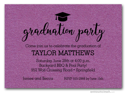 Hat on Shimmery Purple Graduation Party Invitations