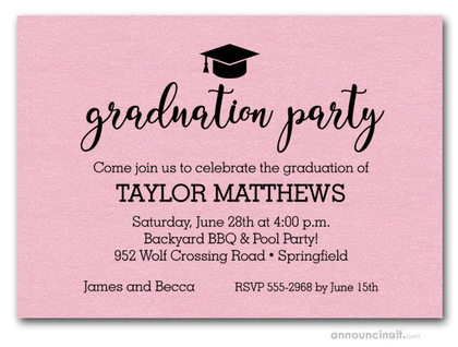 Hat on Shimmery Pink Graduation Party Invitations