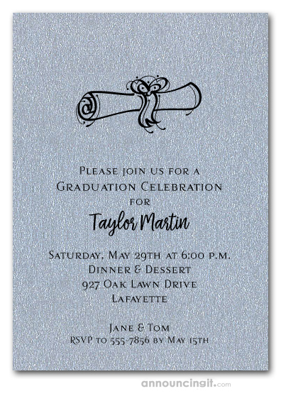 Diploma on Shimmery Silver Graduation Invitations