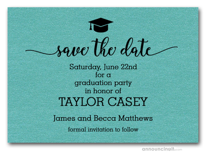Grad Hat on Shimmery Turquoise Save the Date Cards