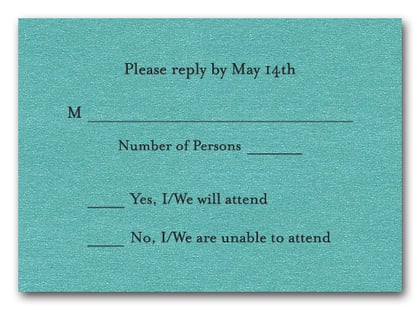 Shimmery Turquoise RSVP Cards