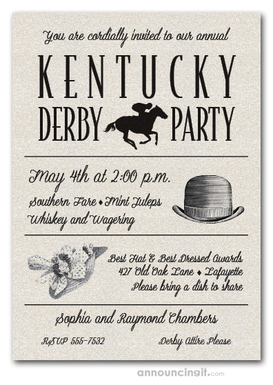 Shimmery White Derby Day Billboard Party Invitations