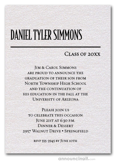 Shimmery White Classic Graduation Invitations
