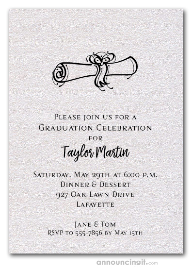 Diploma on Shimmery White Graduation Invitations