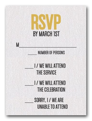 Gold on White Bar Mitzvah RSVP
