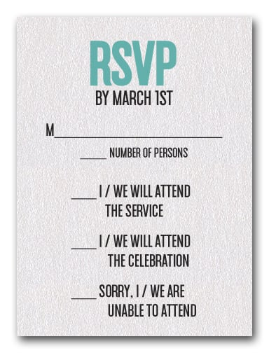 Turquoise on White Bar Mitzvah RSVP