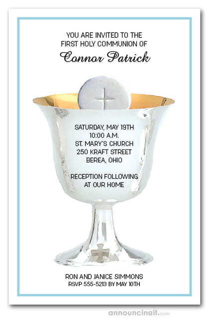 Silver Chalice First Communion on Blue Invitations
