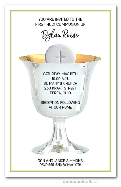 Silver Chalice First Communion on Green Invitations