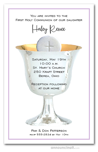 Silver Chalice First Communion on Lilac Invitations