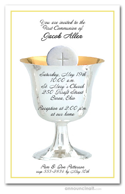 Silver Chalice Yellow Communion Invitations