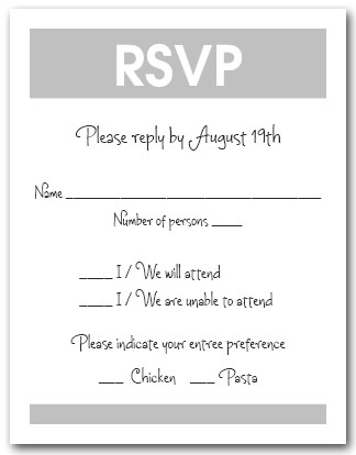 White & Silver RSVP Card #3