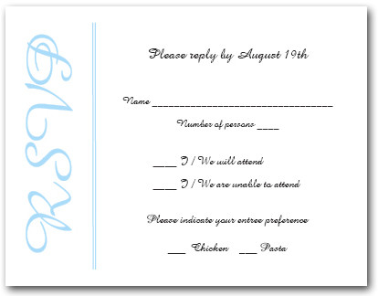 Sky Blue Border RSVP Cards #6