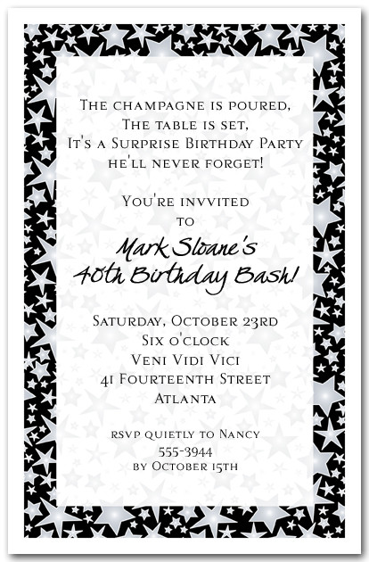 Silver Star Studded Celebration Invitations