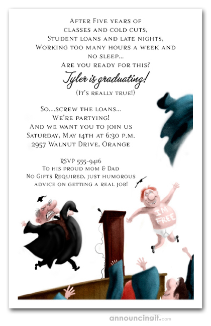 Streaker Graduation Party Invitations