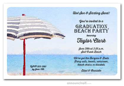 Striped Beach Umbrella Graduation Party Invitations