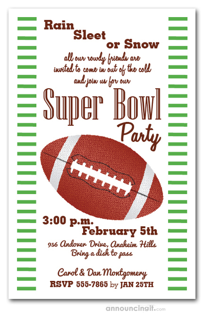 Stripes and Football Super Bowl Invitations