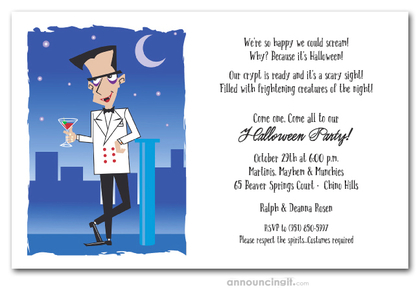 Suave Vampire Halloween Invitations
