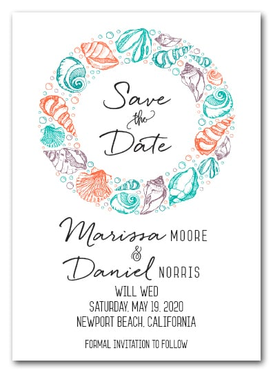 Summer Sea Shells Save the Date