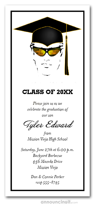 Shades and Black Cap Boy Graduation Invitations