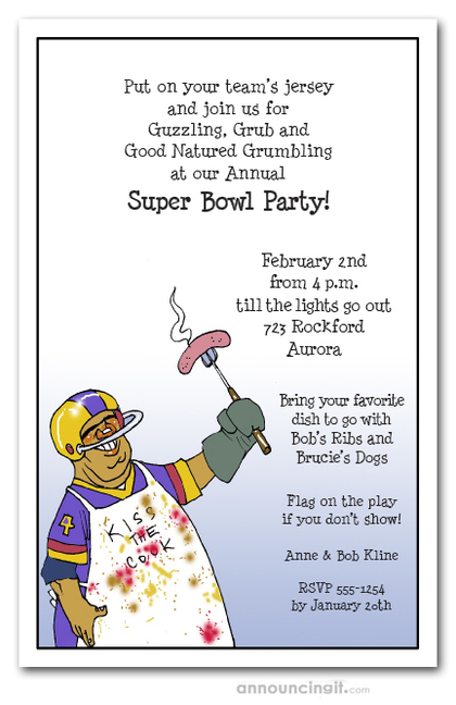 Football Chef Super Bowl Invitations