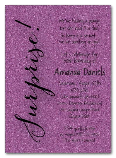 Shimmery Purple Surprise Party Invitations