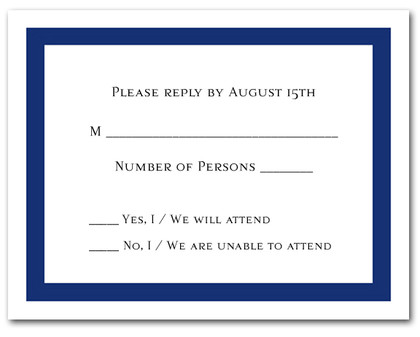 Navy Border RSVP Cards #5