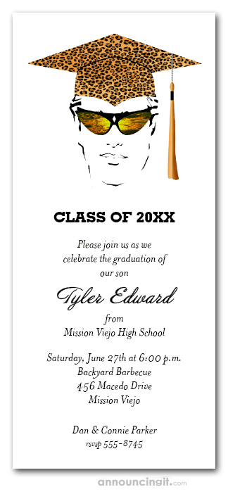 Male Leopard Grad Cap Party Invitations