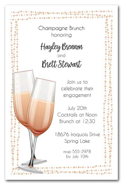 peach champagne flutes brunch  u0026 luncheon invitations