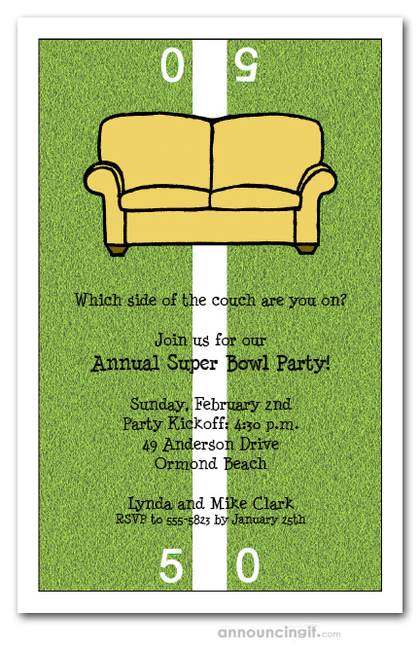 Fifty Yard Line Couch Super Bowl Invitations