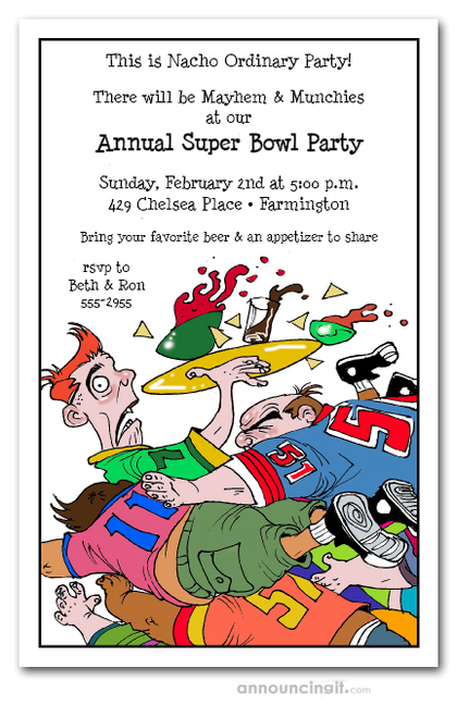 Tackled Super Bowl Party Invitations