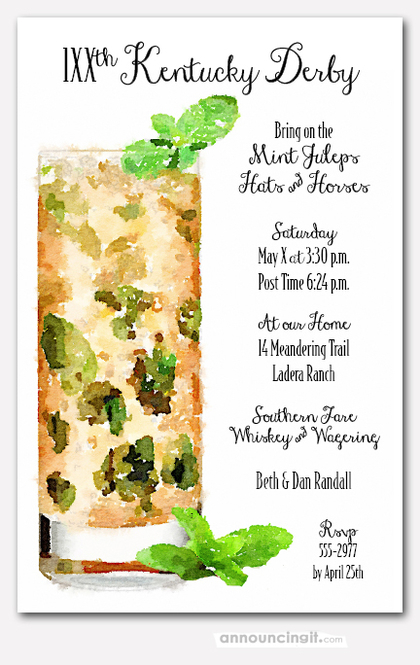 Tall Mint Julep Derby Invitations