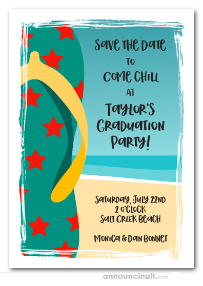 Teal Flip Flops Graduation Save the Date