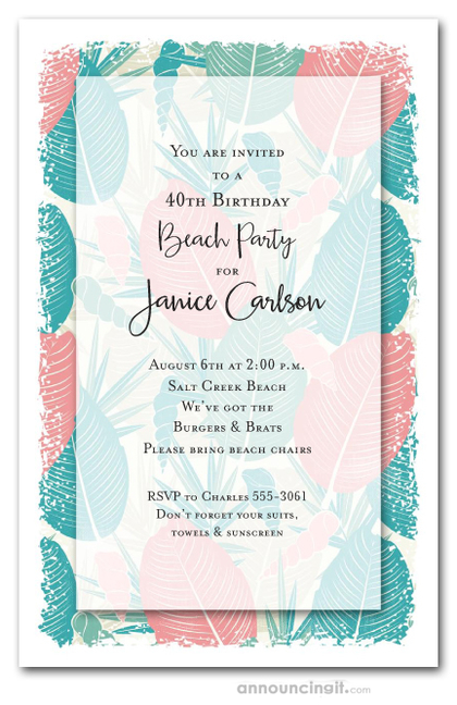 Tropical Leaves and Shells Party Invitations