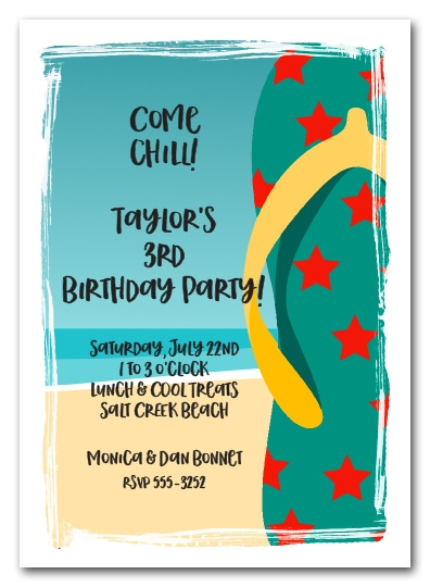 Teal and Orange Flip Flops Beach Party Invitations
