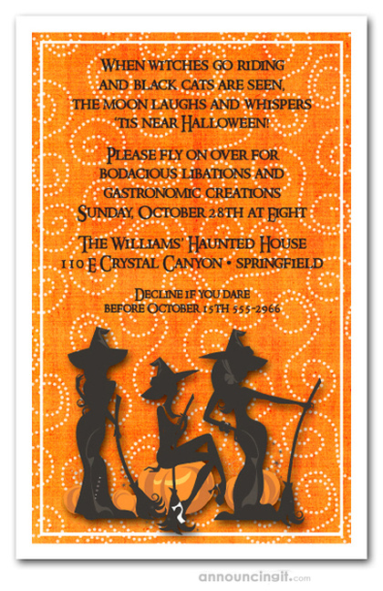 Three Witches Spell Halloween Invites