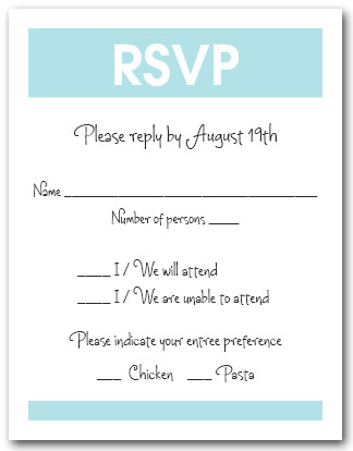 White & Tiffany Blue RSVP Card #3