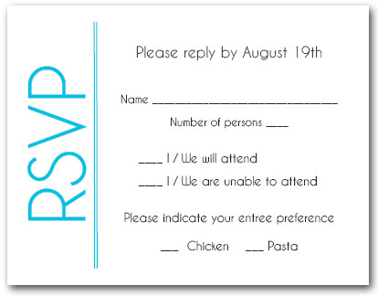 Turquoise Border RSVP Cards #6