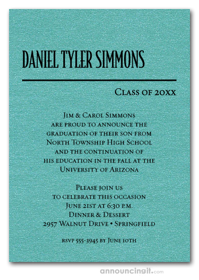 Shimmery Turquoise Classic Graduation Invitations